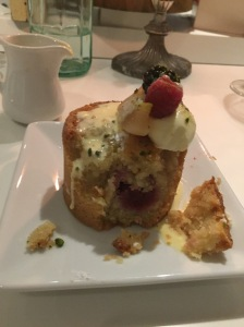 Fresh berry and almond financier with vanilla custard.