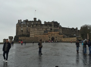 Edinburgh Castle, on a very cold, rainy day.  As most of them are, I think...