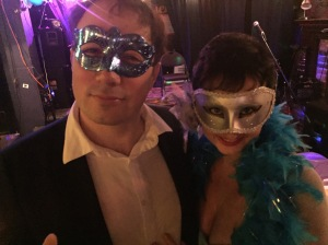 My husband and I at the start of the ball for annual Hands On Literary Festival and Masquerade Ball.