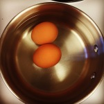 Two eggs, ready for boiling!