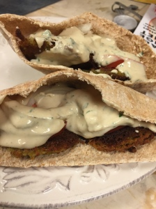 Easy homemade falafel stuffed pita with the tahini sauce recipe from Epicurious.