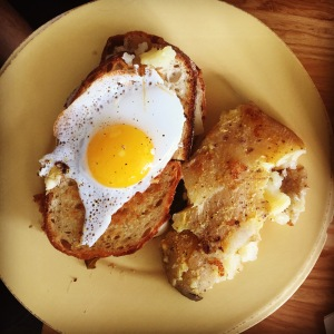 Oloibea's grilled cheese with a duck egg and smashed potatoes on the side.