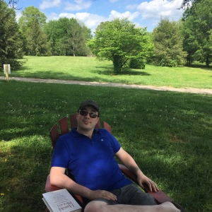 My husband, chilling at the botanical gardens for his birthday.