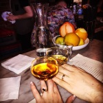 Showing off our rings over smoky dark cocktails at Rolf & Daughters in Nashville, which is AMAZING.