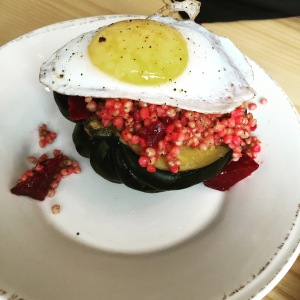 The veggie dish from the fall featuring a duck egg, beets, and other goodness on a baked acorn squash. Pretty, pretty good for you, and delicious!